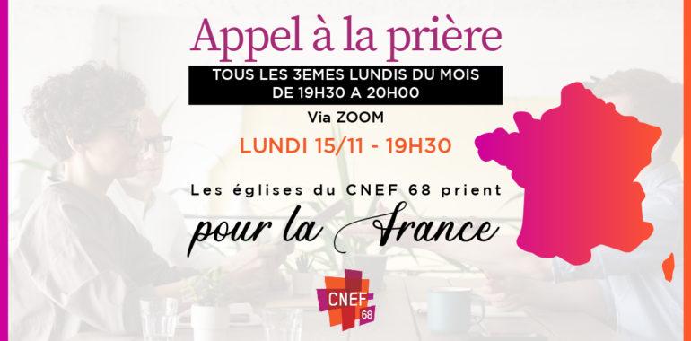 CNEF 68- Appel à la prière pour la France – via Zoom