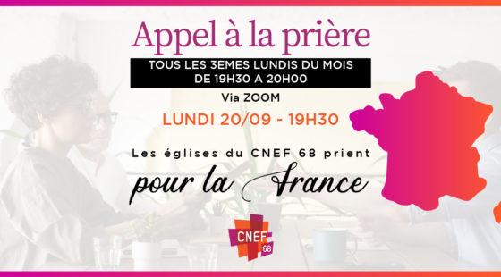 CNEF 68- Prière pour la France – via Zoom
